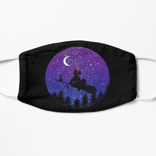 Kiki's delivery service witch flying on broomstick moon starry night Kiki and  Jiji cat  Mask