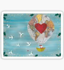 Christmas Santa Claus in a Hot Air Balloon for Peace Sticker