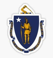 Massachusetts State Flag USA Boston Bedspread T-Shirt Sticker Sticker