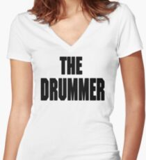 THE DRUMMER (DAVE GROHL / TAYLOR HAWKINS) Women's Fitted V-Neck T-Shirt