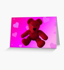 Knitted Red Bear Greeting Card