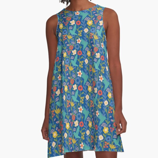 Hummingbird Garden A-Line Dress