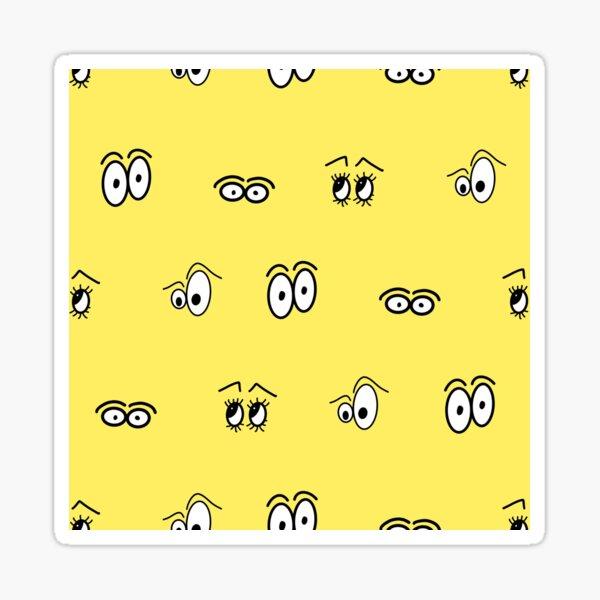 Yellow Cartoon Eye Pattern Sticker