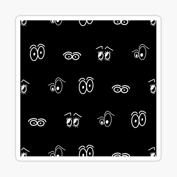 Black an white Cartoon Eye Pattern Sticker