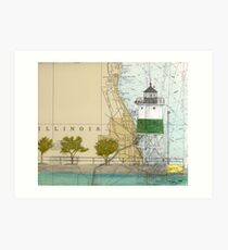 Chicago Harbor SE Guidewall Lighthouse IL Map Peek Art Print