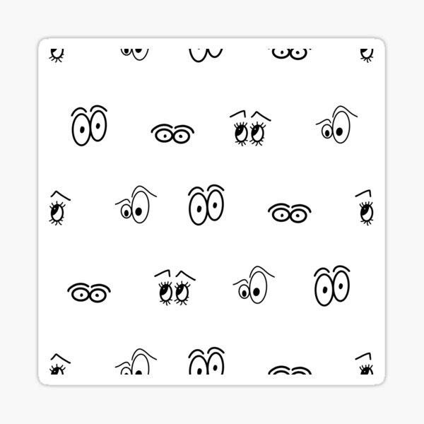 Black and white Cartoon Eye Pattern Sticker