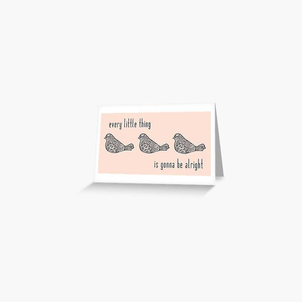 Three Little Birds : Black on Peach Greeting Card