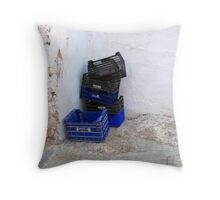 The crates of wrath. Throw Pillow