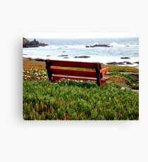 Seat For Two By The Sea Canvas Print