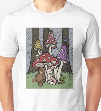 Teddy Bear And Bunny - Rainy Day Blues T-Shirt