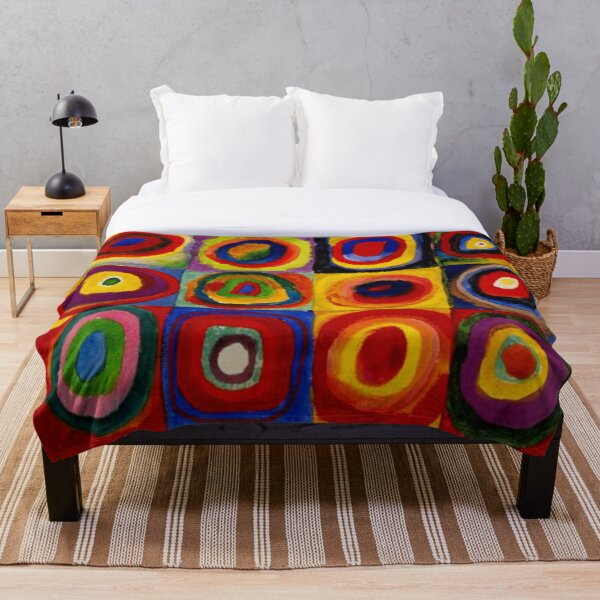 """Kandinsky - """"Squares with Concentric Circles""""   """"Kandinsky Color Study"""" Throw Blanket"""