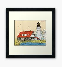 Portland Head Lighthouse ME Chart Map Cathy Peek Framed Print
