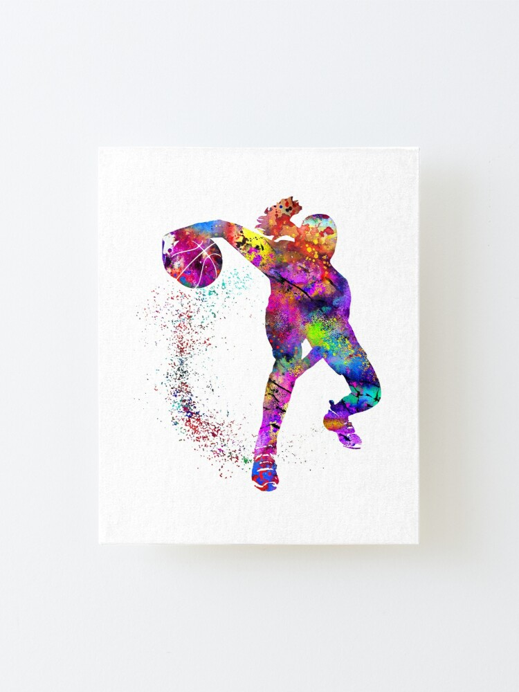 Alternate view of Basketball girl, watercolor basketball girl Mounted Print