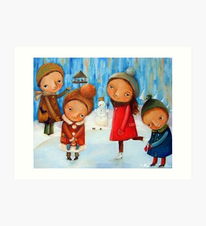 Children playing on the rink Art Print