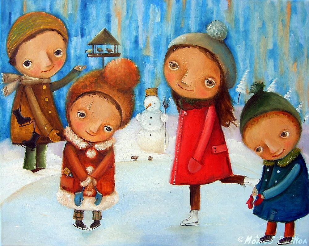 Children playing on the rink by Monica Blatton