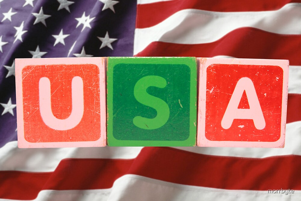 usa and flag in toy block letters by morrbyte