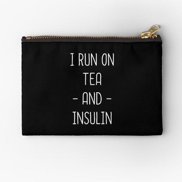 I Run On Tea And Insulin - Diabetes And Tea Lover Funny Zipper Pouch