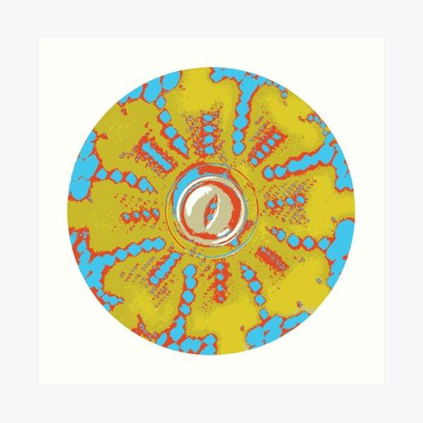 Retro Flower Power Mandala  Art Print