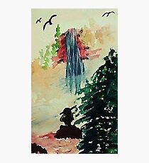 Alone  in thought, watercolor Photographic Print