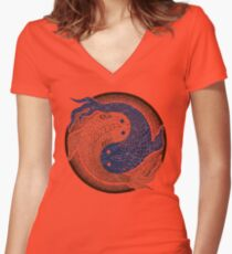 yin yang fish, shuiwudao mandala Women's Fitted V-Neck T-Shirt