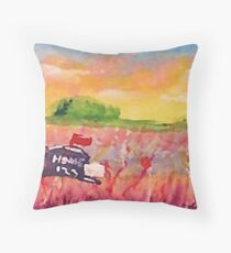 Country mail box, watercolor Throw Pillow