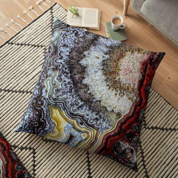 Crazy lace agate macro Floor Pillow