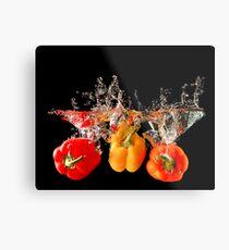 A Splash Of Peppers Metal Print