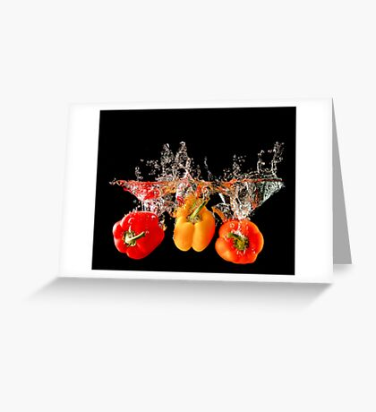 A Splash Of Peppers Greeting Card