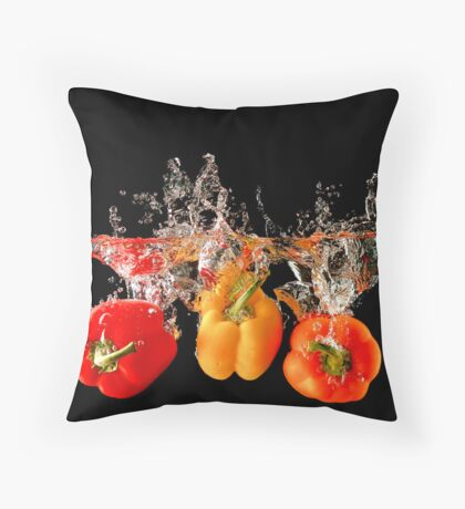 A Splash Of Peppers Throw Pillow