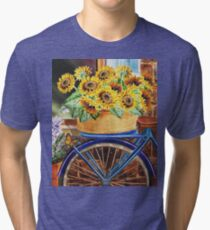 Bicycle With Basket And Sunflowers Tri-blend T-Shirt