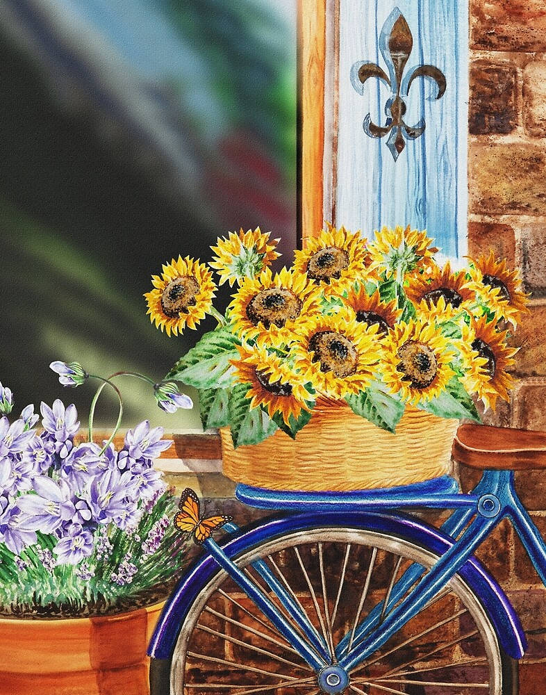Bicycle With Basket And Sunflowers by Irina Sztukowski