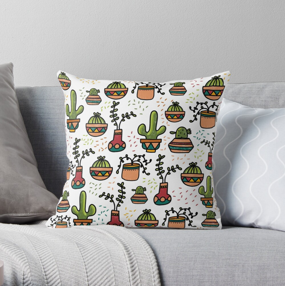 Retro Succulents Throw Pillow