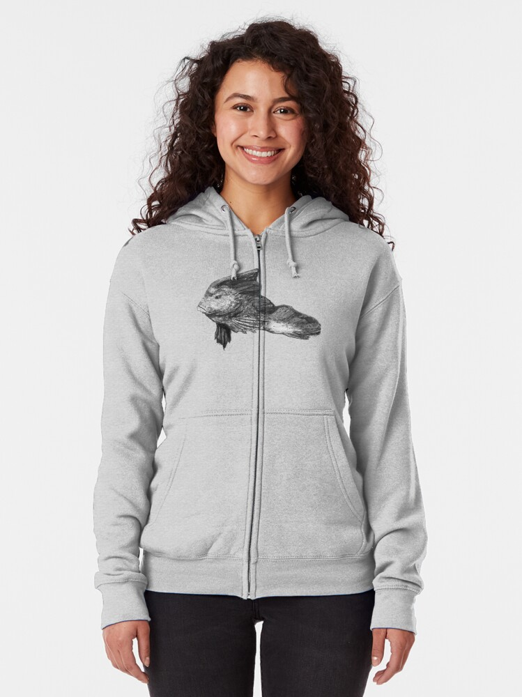 Alternate view of Paulina the Red Indian Fish Zipped Hoodie