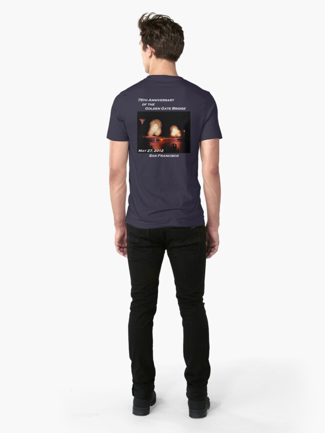 Alternate view of Fireworks - 75th Anniversary of the Golden Gate Bridge Slim Fit T-Shirt