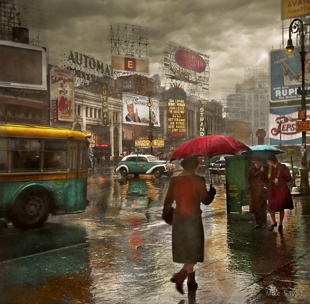 City - NY - Times Square on a rainy day 1943 by Michael Savad