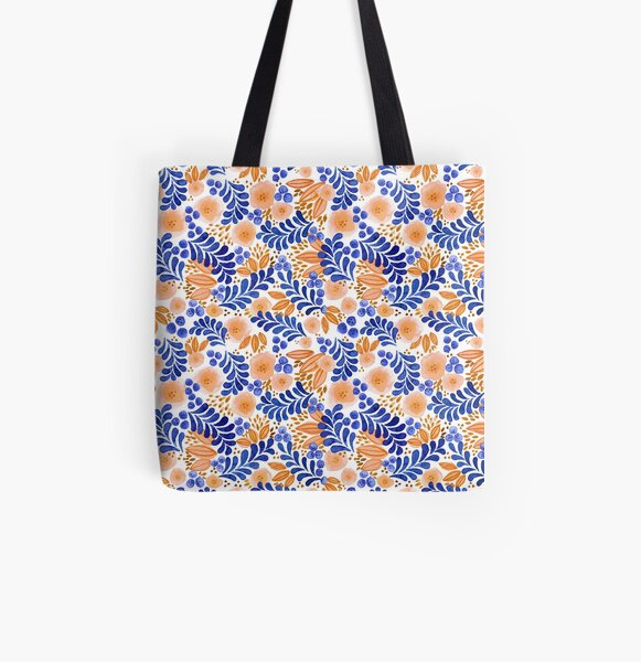 Blueberry and Peach All Over Print Tote Bag