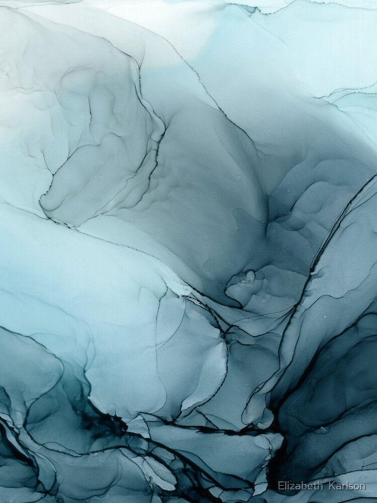 Blue Ocean Fog Abstract Gradient Painting by LSchulz19