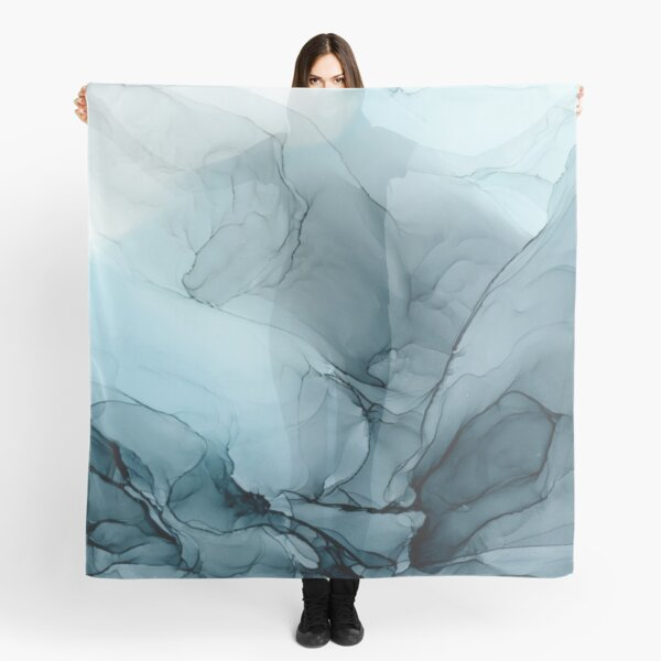 Blue Ocean Fog Abstract Gradient Painting Scarf