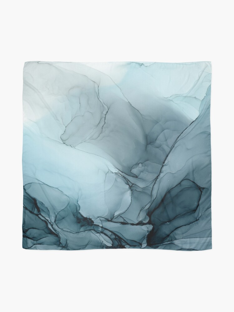 Alternate view of Blue Ocean Fog Abstract Gradient Painting Scarf