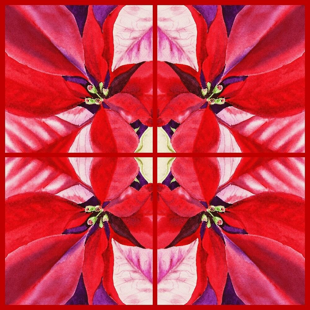 Red Poinsettia Decor by Irina Sztukowski