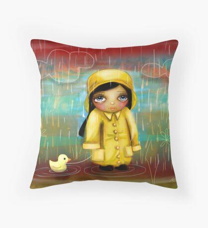 a walk in the rain Throw Pillow