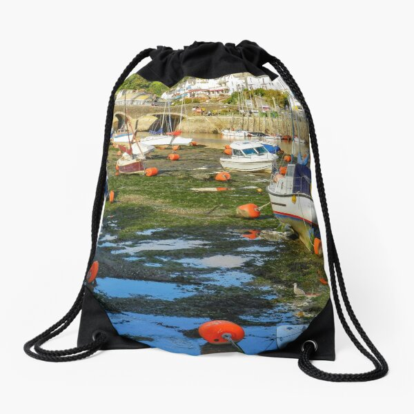 Looe, Cornwall at low tide Drawstring Bag
