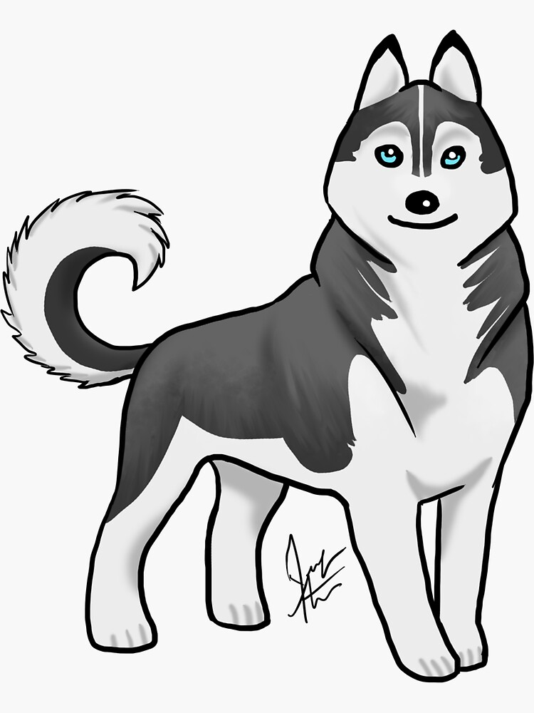 Husky - Black and White by jameson9101322