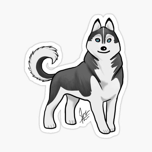 Husky - Black and White Sticker