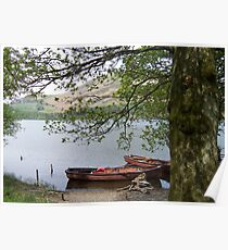 Boats on a lake in Cumbria Poster