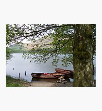 Boats on a lake in Cumbria Photographic Print