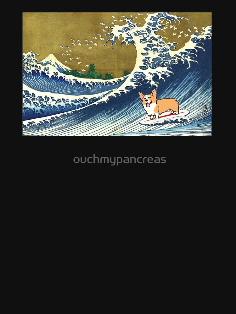 Corgi dog surfing The Great Wave  by ouchmypancreas