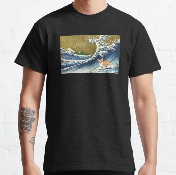 Corgi dog surfing The Great Wave  Classic T-Shirt