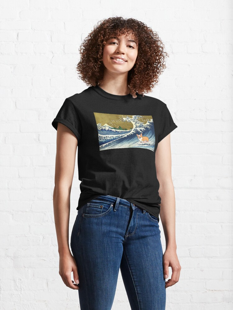 Alternate view of Corgi dog surfing The Great Wave  Classic T-Shirt