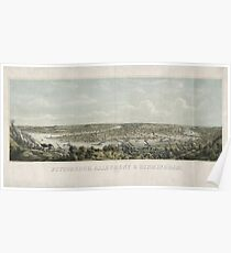 Panoramic Maps Pittsburgh Allegheny & Birmingham drawn from nature Poster